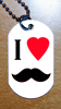 Medaille plaque militaire style armee GI I love moustache