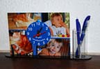 Horloge de bureau pot à crayons photo personnalisé pele mele 4 photos