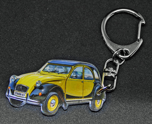 Porte-clés photo d'une 2 CV Citroen Charleston jaune