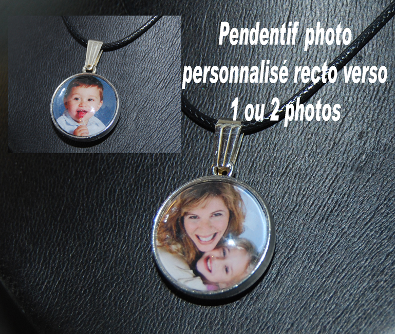Collier pendentif photo personnalisé recto verso 1 ou 2 photos