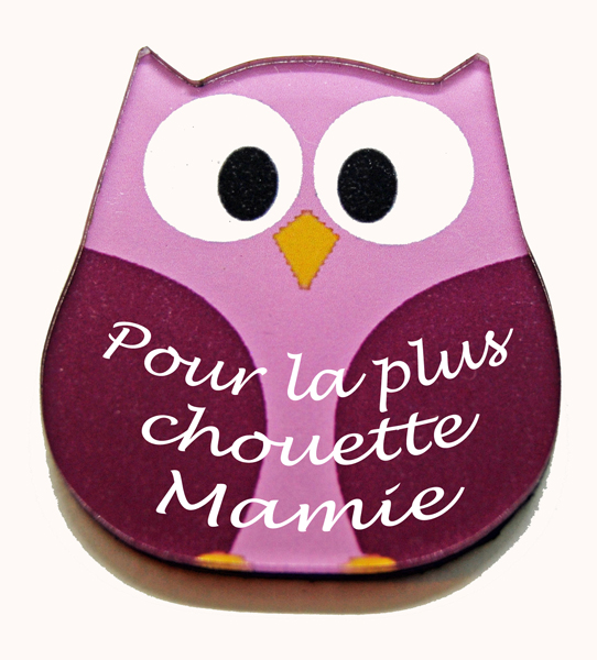 Magnet chouette rose