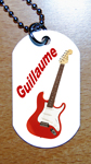 Medaille plaque militaire style armee GI guitare rouge personnalisee prenom ou texte